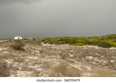 Storm over the dunes of Es Trenc, Mallorca, Spain
