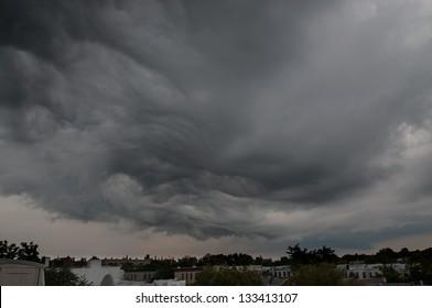 A storm passes over Brooklyn.