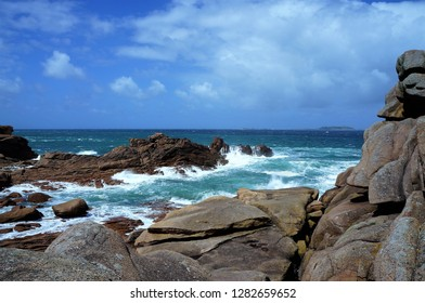 Storm at the pink granite coast of Perros Guirec in Brittany France