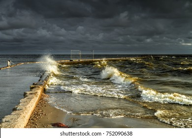 Storm in sea