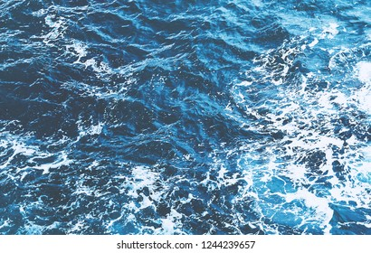storm sea view from above