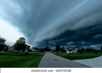 A storm shelf over a neighborhood