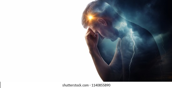 Storm sky with lightning and sun on the background silhouette of a man. Concept  of the struggle between good and evil or the theme of medicine (migraine and headache pain ). Health and pain.