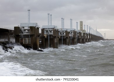 storm surge barrier is closed to protect against storm and flood