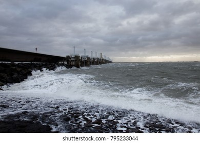 The storm surge barrier closes for extreme high tide to prevent flood