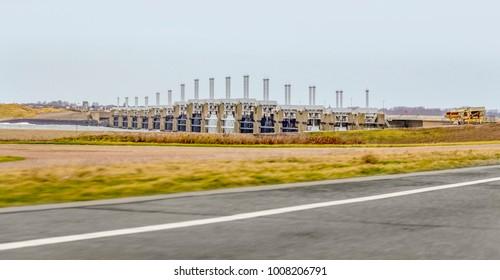 storm surge barrier named Oosterscheldekering in the Netherlands