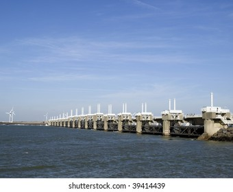 Storm surge barrier the Neeltje Jans. The USA are very interested in this project after the hurricane Katrina