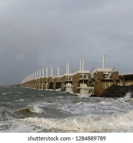 Storm surge barrier at the Oosterschelde in a storm