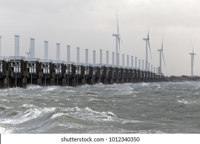 Storm Surge Barrier at the Oosterschelde closed for storm and high tide against flood