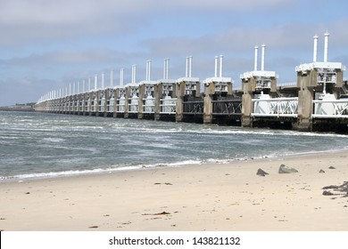 The storm surge barrier Oosterschelde near Neeltje Jans in The Netherlands