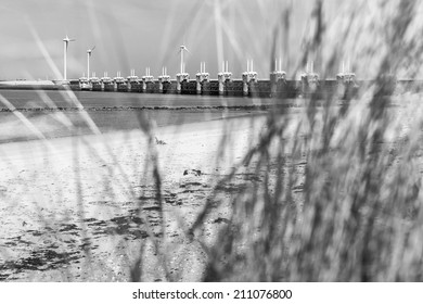 The storm surge barrier Oosterschelde nearby Neeltje Jans in The Netherlands