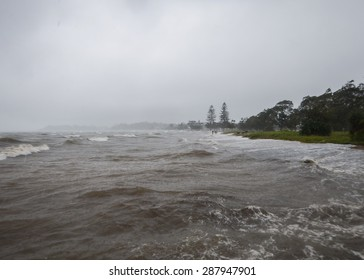 Storm surge tide at Sandgate in Brisbane after Cyclone Marcia.