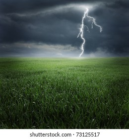 Storm, thunder on the field