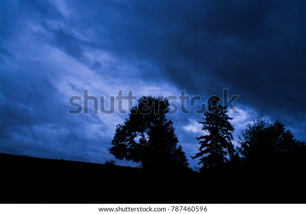 Storm at the top of the hill in the night
