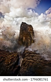 Storm waves crashing on the rocks, Bondi Australia