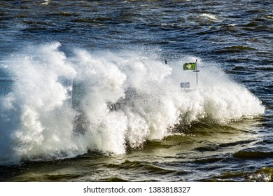 storm and waves on the river
