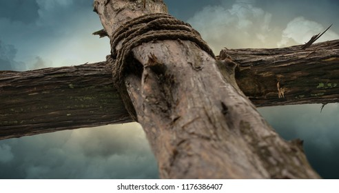 Stormclouds at the Cross of Jesus Closeup Selective Focus