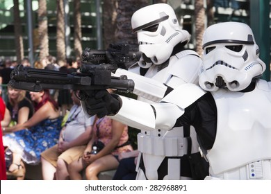 Stormtroopers from the costume group the 501st Legion pose at the Star Wars Celebration convention in Anaheim, California, April 2015.
