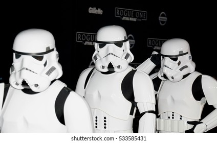 Stormtroopers at the World premiere of 'Rogue One: A Star Wars Story' held at the Pantages Theatre in Hollywood, USA on December 10, 2016.