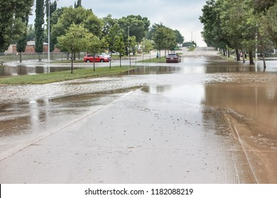 Stormwater flooding over the streets with stalled cars