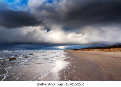 Stormy Baltic sea at Liepaja, Latvia.