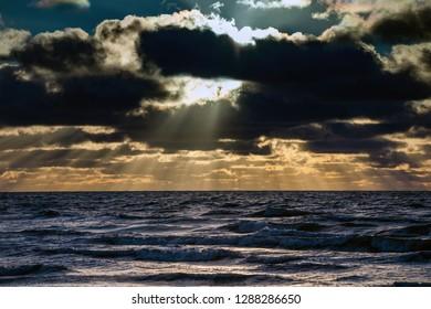 Stormy Baltic sea, Liepaja, Latvia.