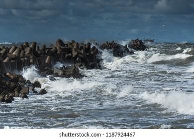 Stormy Baltic sea next to Liepaja, Latvia.