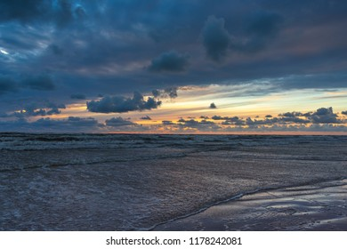 Stormy Baltic sea in sunset time, Liepaja, Latvia.