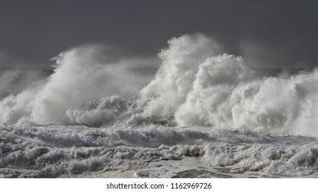 Stormy breaking waves closeup. Northern portuguese coast.