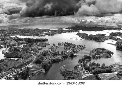 Stormy clouds over Guatape Lake (El Penol) in Antioquia, Colombia, South America
