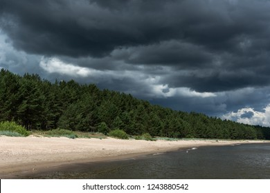 Stormy clouds over gulf of Riga, Baltic sea.