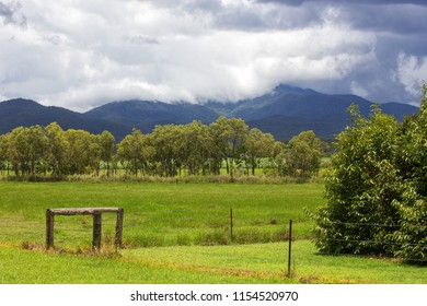 Stormy clouds over hills covered with forest on the Atherton Tableland in Tropical North Queensland, Australia