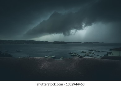 stormy clouds at the sea - extreme weather condition