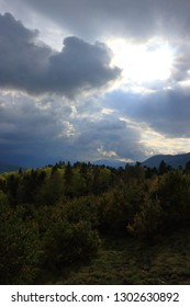 Stormy clouds and shining sun in Pyrenean, Aude in the south of France