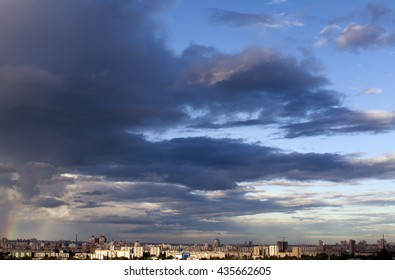Stormy cloudscape over city