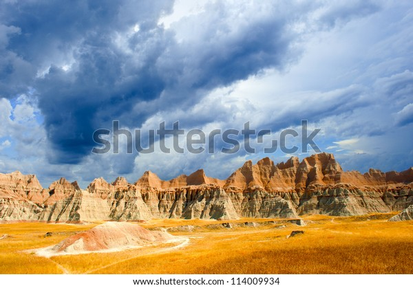 A stormy day the the Badlands national park south dakota