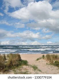 stormy Day at Beach of Baabe on Ruegen at baltic Sea,Mecklenburg western Pomerania,Germany