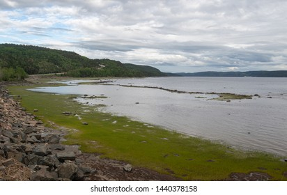Stormy evening image of Saguenay River in la Baie region of Fjord National Park Quebec