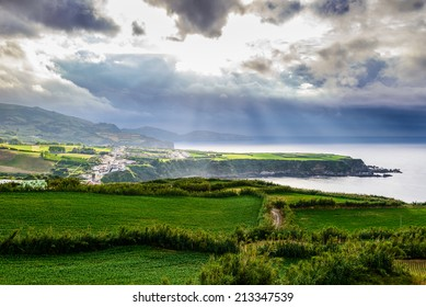 Stormy landscape above Sao Miguel, A�§ores, Portugal, Europe