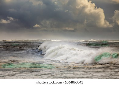 Stormy ocean with big waves  in Portugal