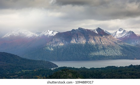 Stormy Patagonia landscape during the autumn colors in the great lakes district of Northern Patagonia, Bariloche, in Argentina.