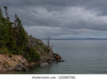 Stormy Point Along Yellowstone Lake with calm water