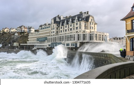 Stormy sea on the background of knowledge. Functional rehabilitation center of Normandy. Granville, France.