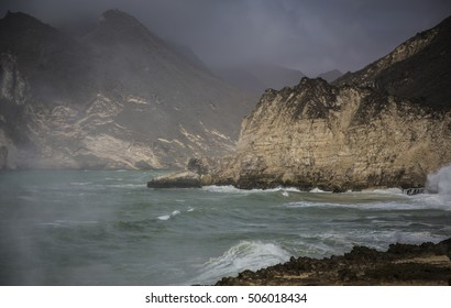 stormy sea in Salalah in Khareef season, Oman