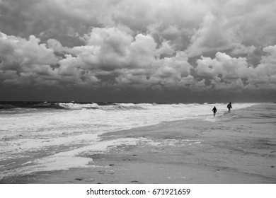Stormy seas and dramatic sky along the coastline near Seaside Park New Jersey.