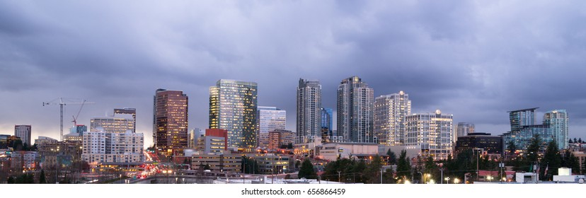 Stormy Skies Architecture Landscape Bellevue Washington Downtown City Skyline