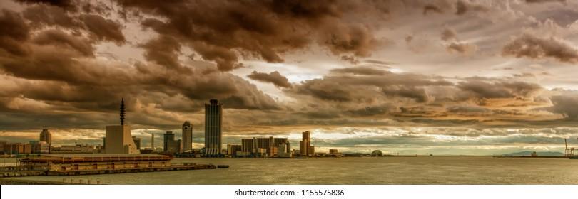 Stormy sky above the Port of Osaka in Japan. The Port of Osaka is the main port in Japan, located in Osaka within Osaka Bay.
