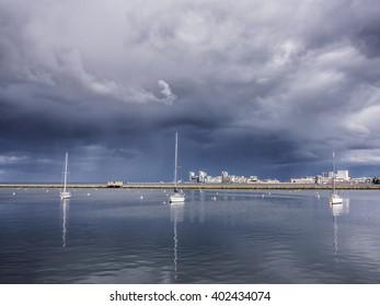 Stormy sky over Edinburgh's Granton Harbour