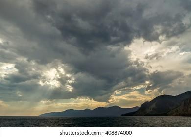 stormy sky over Lake Baikal, summer