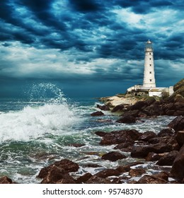Stormy sky over lighthouse sits on the edge of the Crimean peninsula